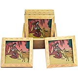 Wooden Decorative Table Tea Coasters With Stand Set Of 6 Pcs