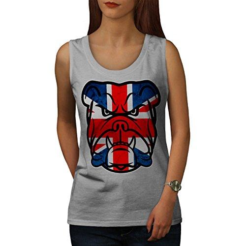 brittish Stier Hund Flagge Vereinigtes Königreich Welpe Gesicht Damen S-2XL Muskelshirt | Wellcoda Grau