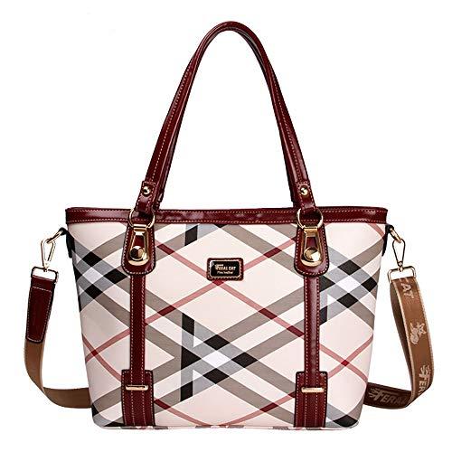 KINGEE-B Handtasche Schultertasche, Damen Casual Große Einkaufstasche Einkaufstasche Mit Verstellbarem Gurt,Red