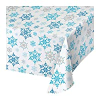 Creative Converting All Over Print Plastic Tablecover, 54 x 102-Inch, Snowflake Swirls