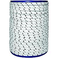 Cuerda poliéster 8mm x 30m, color blanco–azul, en rollo