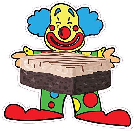 Clown mit Kuchen Zugeständnis Restaurant Lebensmittel Lustige LKW Die Cut Sticker Neuheit Selbstklebende Autoaufkleber für Fenster Geschenke für Kinder, für Frauen, für Teenager, Mädchen, 20,3 cm -