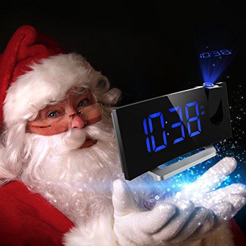 Mpow Radio Despertador Digital  Despertador Proyector con Alarma de Proyección de FM y Alarmas Dual  Radio Reloj Despertador con Proyector  Función Snooze Pantalla LED de 5 pulgadas con Atenuador