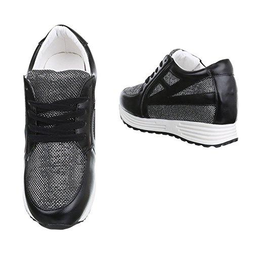 Damen Schuhe Sneakers Low-Top Schnürsenkel Low-Top Sneaker Freizeitschuhe Keilabsatz/ Wedge Schwarz