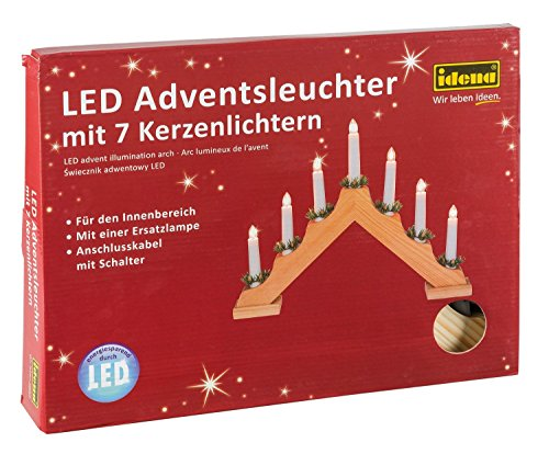 Preisvergleich Produktbild Idena 8582088 LED Adventslichter / Adventsbogen mit 7 Kerzenlichtern, Schalter, natur (2er Pack, Klassisch)