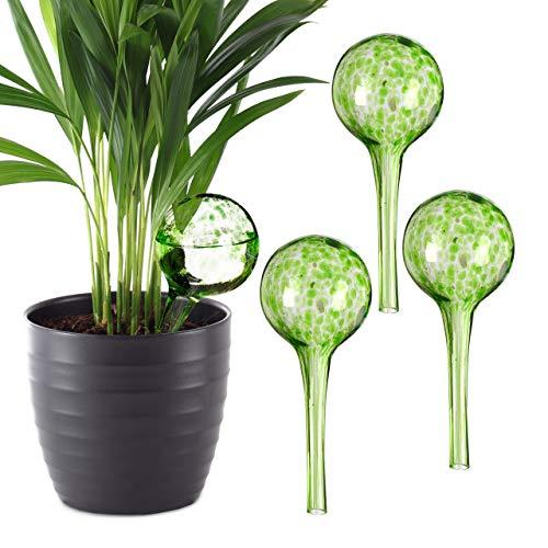 Relaxdays 4 x Bewässerungskugel im Set, dosierte Bewässerung Pflanzen u. Blumen, Gießhilfe Büro, Urlaub, Ø 6 cm, Glas, grün