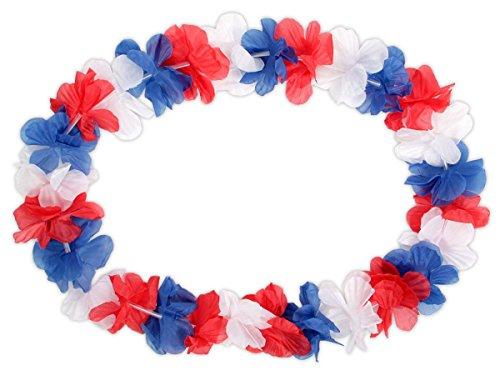 Lot de 48 Colliers Hawaïen bleu blanc rouge 'HK-36' textile hawaien Hawaï hawaii couleur de l'équipe de France Hula fleur pétale ambiance tropique déguisement fête beach party été plage printemps accessoire femme homme jeune e