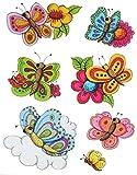 7 tlg. Set: Fensterbild - Schmetterlinge & Blumen - statisch haftend - Sticker Fenstersticker / z.B. für Fenster und Spiegel - Aufkleber selbstklebend wiederverwendbar - Fensterfolie Fensterdeko