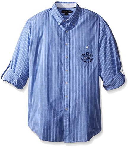 U.S. Polo Assn. Men's Big-Tall Button Down Slim Fit Striped Oxford Shirt, Wedding Blue, X-Large/Tall (Big Oxford Tall And Hemd)