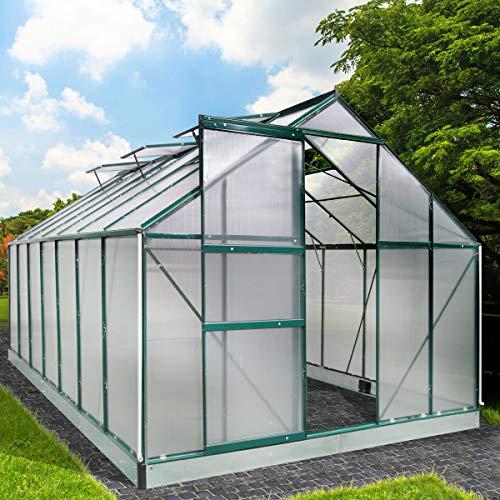 BRAST Gewächshaus Aluminium mit Stahlfundament L430xB250xH205cm 6mm Platten viele zusätzliche Streben Schiebetür 6 Fenster 17,2m³