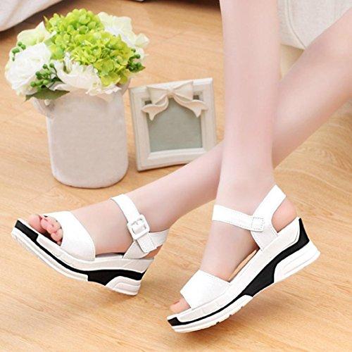 HCFKJ 2017 Mode Frauen Sommer Sandalen Schuhe Peep-Toe Low Shoes Roman Sandalen Ladies Flip Flops Weiß