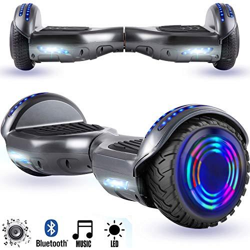 Magic Vida Skateboard Elettrico 6.5 Pollici Bluetooth Power 700W con Due Barre LED Monopattini elettrici autobilanciati di buona qualità per Bambini e Adulti(Grigio Metallizzato)