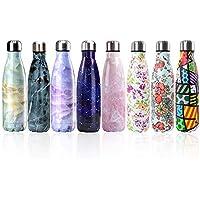 Newday1 Botella de Agua de Mantiene bebidas frías por 24h y calientes por 12h 500ML de doble pared con aislamiento de botella de agua de acero inoxidable water bottles,Colorful flower