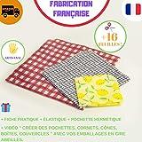 Emballage cire d'abeille [  3]Réutilisable Fabriqué en France Garantie 2 mois|100% Artisanal Zero Dechet|Bee Wrap Indispensable pour le Quotidien|Fiche+Vidéo+Élastique+Pochette |