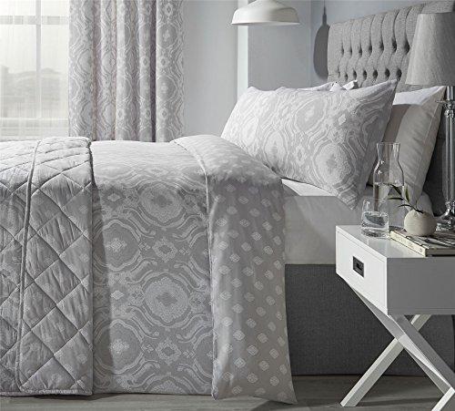 kompliziert Paisley-Style silbergrau Baumwollgemisch breites Doppelbett ( Plain Weiß passendes Leintuch - 180 x 200cm + 25) 4-tlg. Bettwäsche Set