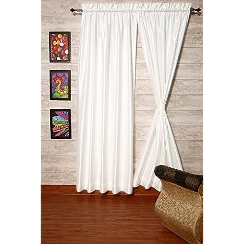 Blanco cortinas satén de seda Dupioni sintética, elección de piezas, anchura y longitud elección con forros opacos por zappycart., 78