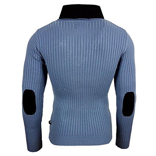 Rusty Neal Herren Pullover Grobstrick Sweatshirt Schalkragen Strickpullover 3152 Blau