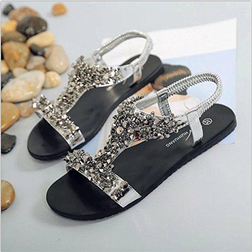 Vovotrade Frauen Sommer Strand Schuhe Komfort Sandalen Sommer Flip Flops Mode flachen Gladiator Silber
