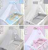 BABY CANOPY DRAPE MOSQUITO NET WITH HOLDER TO FIT COT & COT BED NEW DESIGNS