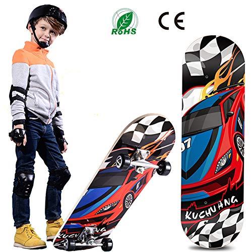 RISILAYS Kinder und Jugendliche Skateboard ABEC-7 Kugellager PVC Räder 7-lagigem Ahornholz (72x20cm)