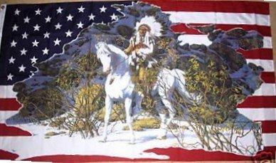Drapeau américain Motif chef indien sur son cheval 900 x 600 mm