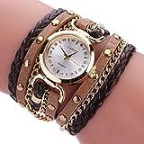 Dinglong Vintage Rétro Rivet Tressé Longue Bracelet En Cuir Bracelet Montre Femmes étudiants Casual Quartz Montre Dames Horloge Relogio Feminino (G)