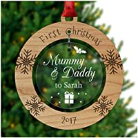 PERSONALISED Mummy & Daddy 1st First Christmas Tree Ornament Decoration Bauble Xmas - Cherry Veneer and Acrylic Engraved Christmas Tree Ornament - Keepsake Christmas Gifts Presents