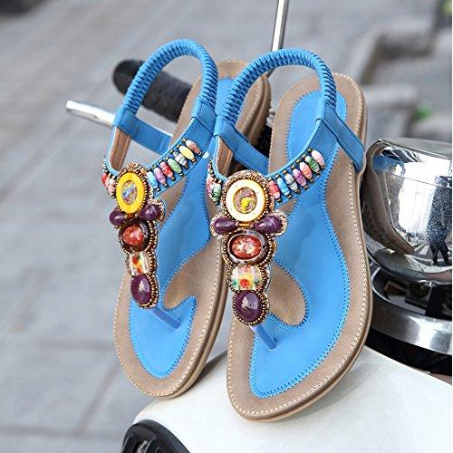 Yorwor Bohême D'été Des Femmes Avec Des Perles De Sandales Bleues Colorées
