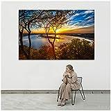 RuiChuangKeJi Poster e Stampe di paesaggi Naturali su Tela Quadri su Tela Dipinti ad Olio Immagine di paesaggi al Tramonto Soggiorno Decorazioni per la casa70x90cm Senza Cornice