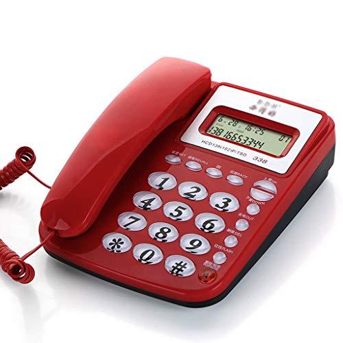 Teléfono de Escritorio con Cable con Altavoz, calculadora básica e identificador de Llamadas, Rojo