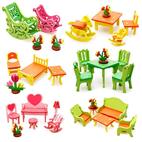 3d Bambole Fai Da Te Di Assemblaggio Casa Mobili Giocattoli Nido Tavolo E Sedie