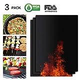 Firmrock Grillmatte, 3er-Set Grillmatten, Antihaft-Grillmatte für bis zu 500 Grad Fahrenheit, extra groß und langlebig, 50x40 cm | Ideal für Gas - Kohle - Elektrischer Grill und Ofen geeignet