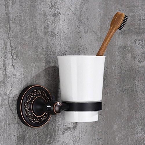 KIEYY Cup&Tumbler Inhaber Classic Style Square Badezimmer Zahnbürsten Halter an der Wand montierten aus massivem Messing mit Keramik Schale für zu Hause 602002, Keramik Schale (Zahnbürste-halter Classic)