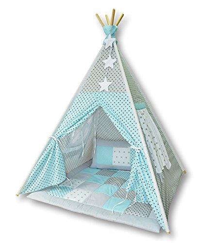 Amilian® Tipi Spielzelt Zelt für Kinder T08 (Spielzelt mit der Tipidecke und Kissen)