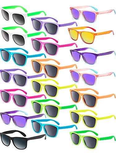 Blulu 12 Paare Neon Farben Sonnenbrille Partei Favor Tolle Tasche Favors Supplies Unisex für Graduierung Mardi Gras Ferien (Mardi Gras Sonnenbrille)