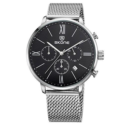 XLORDX Luxus Herren Armbanduhr Roman Quarzuhr Analog Modisch Zeitloses Silber Edelstahl Mesh Band Schwarz
