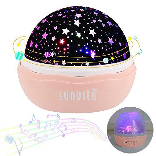 Nachtlichter, Sunvito ROSE Sternenhimmel Projektor Lampe Aufladbar mit 360°Drehen, 12 eingebaute Musik,8 verschiedene Farben des Lichts,USB-Aufladung Kind Spielzeug Leuchten für Geburtstagsgeschenk,Weihnachtsgeschenk,Kinderzimmer,schlafzimmer(Rosa)
