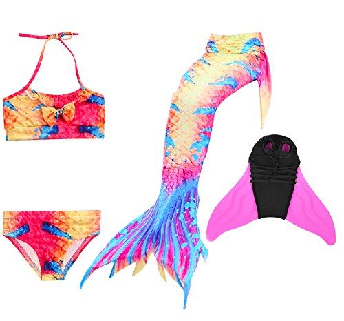 DecStore 4PCS Mädchen Badeanzug Meerjungfrau Schwanz Bademode Bikini-Set Kostüm für Schwimmen mit Monoflosse(Orange+blue 130+Pink Fin)