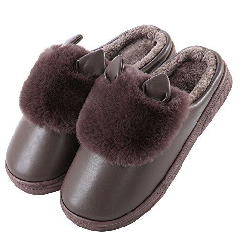 PU oreilles de chat mignon coton pantoufles à domicile-Unisexe hiver chaud peluche chaussures bootie caf¨¦