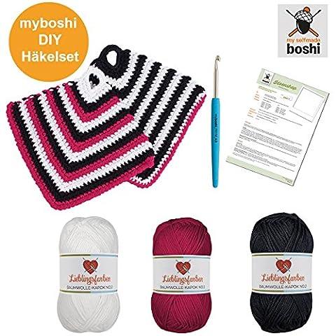 Topflappen einfach häkeln: myboshi Häkel-Set mit 3x 50g Wolle Lieblingsfarben No.2 (15% Kapok, 85% Baumwolle) - Häkelnadel 4,5mm, Gratis Häkel-Anleitung, selfmade Label