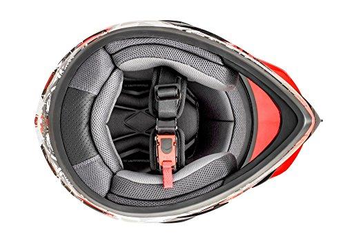ATO GS War Rot Crosshelm mit Visier für Quad ATV Enduro Motorradhelm ECE 2205 Größe: L 59-60cm - 4