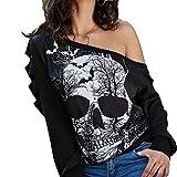 HuaCat Sommerfrauenweste T-Shirt Schwarzes Bodenshirt V-Ausschnitt T-Shirt Mit Totenkopf-Print Und Dekorativem Metallunterhemd Aus Metall Top (M, Schwarz-25B)