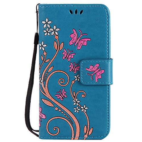 Price comparison product image HUAWEI Y3 II /Y3 2 Case Blue Leather, Cozy Hut Retro Butterfly Flower Patterned Embossing PU Leather Stand Function Protective Cases Covers with Card Slot Holder Wallet Book Design Detachable Hand Strap for HUAWEI Y3 II /Y3 2 - blue