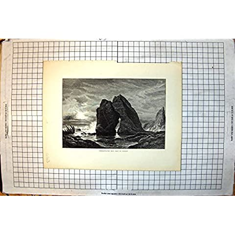Impresión Antigua del Lomo De Agua Dulce de Shanklin de la Entrada de la Opinión del Wight de la Isla de la Bahía