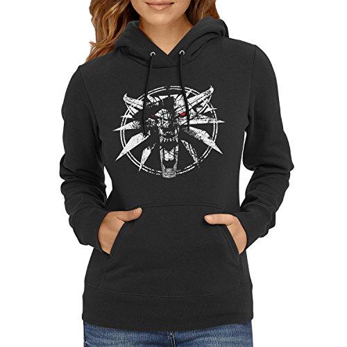 TEXLAB - Hexer Logo - Damen Kapuzenpullover, Größe M, schwarz