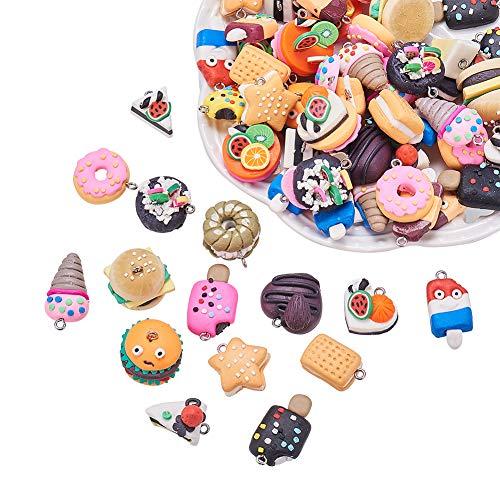 nbeads 100 pcs Faite à la Main Nourriture Thème Argile polymère Pendentif Sangles pour téléphone clés Sac Charms ou Kids 'Jouets, Mixte Couleur, 17 ~ 29 x 13 ~ 20 x 7 ~ 21 mm, Trou : 2 mm