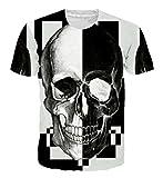 Goodstoworld Negro Blanco Skull Print Shirt Hombres Mujeres Verano gótico Casual Manga Corta Camiseta Tops Ropa pequeña
