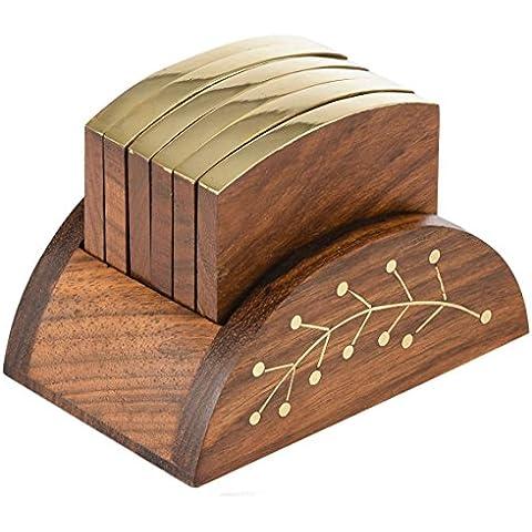Montaña rusa de madera royaltylane establece con 6 posavasos de mesa redonda hecha a mano y soporte de madera decorativa para vasos latas tazas de café tazas de té de cerveza bar y vasos de agua - 3,5