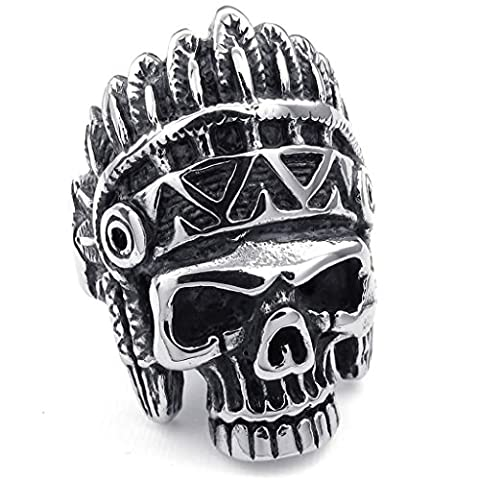 Bishilin Stainless Steel Fashion Mens Rings Punk Gothic Indian Native Americans Skull Black Silver Size V 1/2