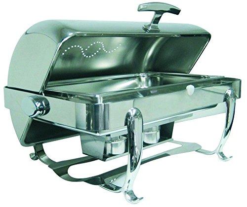 APS 12358 Rolltop-Chafing Dish -Royal- ca. 66x45cm, H 43cm, 9 Liter Edelstahl, mit Rolltopdeckel inkl. Speisebehälter 2 Brennpastenbehälter und, Vorrichtung für Heizelement, mit eingebauter Deckelbremse